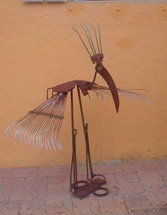 Tropical Island Bird welded from recycled metal gardening tools, Garden Art