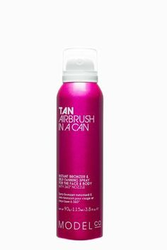 ModelCo - Tan Airbrush In A Can (90 g) by ModelCo. $16.99. Spray tan at its best, ModelCo pioneered the TAN IN A CAN category globally - waving goodbye to traditional tanning lotion, putting an end to stained hands and uneven coverage. The rich blue green base self tan ingredient DHA works with your natural skin tone to deliver lasting natural looking colour with an instant bronzer that deepens over 4 hours. The nourishing Aloe Vera ingredient keeps your skin soft and moistur...