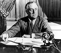 This photo captured After Roosevelt gave one of hşs famous fireside chats.The fireside chats were a series of thirty evening radio addresses given by United States President Franklin D. Roosevelt between 1933 and 1944.