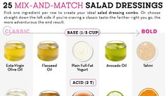 Easy Salad Dressing Recipes That Won't Leave You Bored - 26 Mix and Match Recipes Easy Salads, Healthy Salads, Real Food Recipes, Cooking Recipes, Healthy Recipes, Fran Recipe, Salad Dressing Recipes, Salad Dressings, Carb Cycling Diet