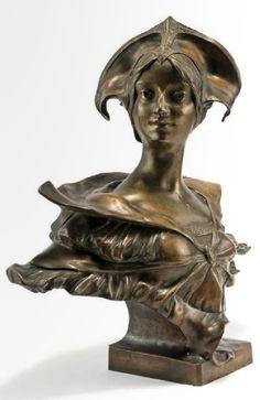 Bust Gerome Stunning Gorgeous Art Deco Nouveau Bronze Sculpture Statue Figure T