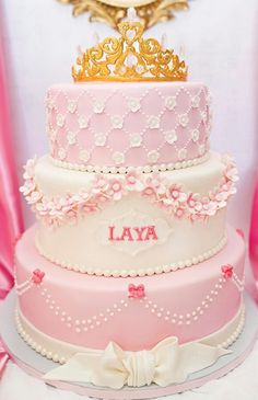 pink princess birthday cake with gold and crystal crown topper Princess First Birthday, Baby Shower Princess, Pink Birthday, Girl First Birthday, First Birthday Parties, First Birthdays, 13th Birthday, Birthday Cupcakes, Birthday Ideas