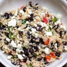 Healthy Black Bean Quinoa Salad with Feta Feta Cheese Recipes, Quinoa Salad Recipes, Vegetable Recipes, Vegetarian Recipes, Healthy Recipes, Clean Recipes, Cooking Recipes, Clean Foods, Chopped Salads