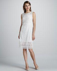 Catherine Malandrino Embroidered Favorite Sheer-Trim Dress, Moon