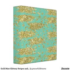 Gold Mint Glittery Stripes and Circles Vinyl Binders