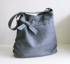 Sale - Grey Hemp/Cotton  Bag, tote, handbag, purse, bow, hemp, unique - Dessert