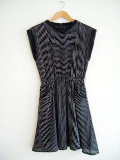 Vintage Dress Black White Striped Pockets S
