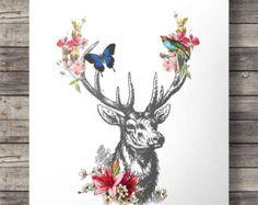 Watercolor deer flower garland peony flower crown by SouthPacific