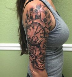 Amazing sleeve tattoos for women pocket watch tattoo design, clock tattoo design Quarter Sleeve Tattoos, Tattoos For Women Half Sleeve, Best Sleeve Tattoos, Female Tattoo Sleeve, Female Tattoos, Half Sleeve Tattoos Time, Woman Sleeve Tattoos, Flower Sleeve Tattoos, Tattoo Sleeves Women