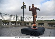 Buenos Aires, Argentina - Jun 28, 2016: The sculpture of the soccer star Lionel Messi at the Paseo de la Gloria in Buenos Aires.  - stock photo