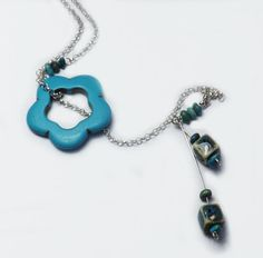 Turquoise Flower Sterling Silver Necklace