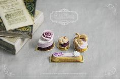 Petit D' Licious: Purple Themed Assortment Patisseries in dollhouse miniature scale 1:12