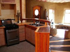 A kitchen in cob house