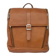 Piel Leather Slim Computer Backpack 2480 Saddle Leather