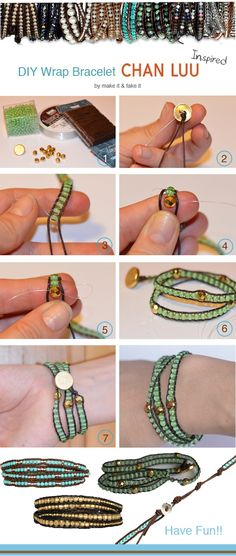 DIY wrap braclet.( I love these kinds of bracelets! So simple, yet so cool!)