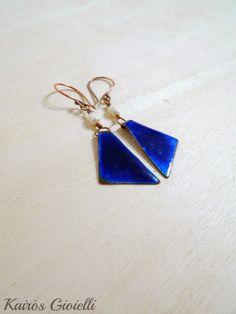 Tempo_ handmade copper, enamel and pearls earrings by Kairòs Gioielli