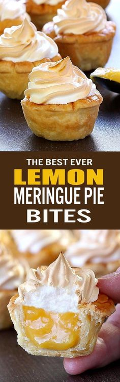 Lemon Meringue Pie Bites - Sugar Apron All the flavors of Homemade Lemon Meringue Pie packed into perfect portable dessert for any occasion or season. – Best Ever Lemon Meringue Pie Bites. Lemon Desserts, Köstliche Desserts, Lemon Recipes, Pie Recipes, Dessert Recipes, Cooking Recipes, Rock Recipes, Dessert Food, Weight Watcher Desserts