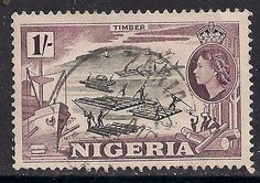 NIGERIA 1953 - 58 QE2 1/-d USED TIMBER stamp SG 76 (D303 - http://stamps.goshoppins.com/commonwealth-british-colonial-stamps/nigeria-1953-58-qe2-1-d-used-timber-stamp-sg-76-d303/