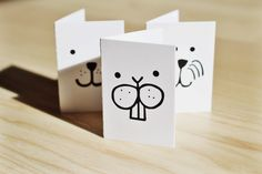 Small A7 cards  3 Funny Greeting Cards  Birtdhay by Tellkiddo, kr15.00