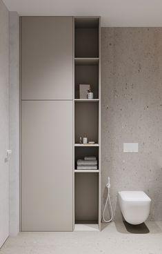 #ACCENTS_SPB_AZ on Behance Minimalist Bathroom Design, Bathroom Design Luxury, Modern Bathroom, Small Bathroom, Home Room Design, Dream Home Design, Guest Toilet, Bathroom Toilets, Bathroom Furniture