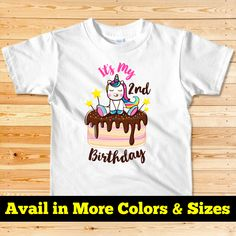 Discover Unicorn Birthday Shirt,Girl Birthday T-Shirt from TExpert, a custom product made just for you by Teespring. - Need any custom design or any question please. 2nd Birthday Shirt, Girl 2nd Birthday, Rainbow Birthday, Unicorn Birthday, Unicorn Party, Girl Birthday Decorations, Unicorn Shirt, Gifts For Girls, Party Supplies