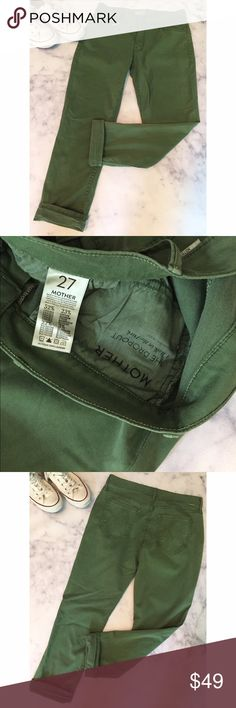 """🆕 MOTHER NWT The Dropout super cute and comfy! new with tags """"The Dropout"""" soft washed green (""""a walk in the park"""") pant in 5 pocket jean silhouette. 52% Lyocell, 23% cotton, 22% poly, 3% elastane. size 27. waist flat is 15.25"""", front rise is 8.75"""", leg opening flat is 6.5"""", inseam is 26"""". MOTHER Pants"""