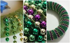 So it's the day after Mardi Gras, and you've got more purple, green, and gold beads than you know what to do with. We might have an idea.) But there's a way to repurpose your Mardi Gras beads beyond Fat Tuesday. Mardi Gras Wreath, Mardi Gras Decorations, Mardi Gras Beads, Mardi Gras Food, Mardi Gras Party, Diy Hacks, Diy Wreath, Ornament Wreath, Bead Crafts