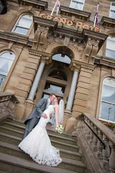 Bride & groom photo on stairs at Grand Hotel, Tynemouth. Northumbrian Photography