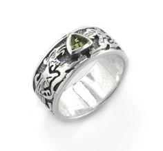 Genuine Green Moldavite Meteor Gemstone Celtic Knot Dragon Sterling Silver Ring(Sizes 4,5,6,7,8,9,10,11,12,13,14,15) (Jewelry)