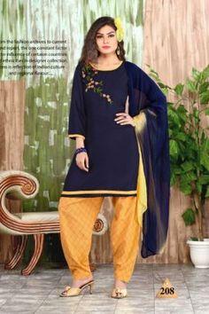 Cotton Salwar Kameez, Salwar Suits, Patiyala Dress, Side Cuts, Daily Wear, Winter Collection, Cotton Dresses, Dark Blue, Tunic Tops