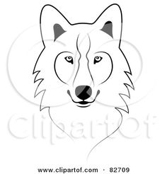 royalty free rf clipart illustration of a black and white sketched wolf face by jkerrigan