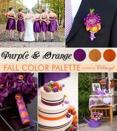Purple and orange weddings inspiration board with a modern style. #purpleweddings #purpleandorangeweddings #fallweddingcolors
