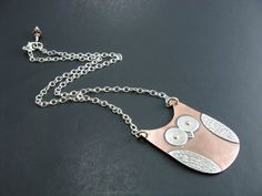 Owl Necklace Copper and Sterling Silver Mixed Metal by BooBeads