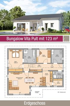 Bungalow - Grundriss Bungalow Vita Pult offers 3 rooms, open kitchen, hallway with cloakroom, bathro Bungalow Floor Plans, House Floor Plans, Best House Plans, Small House Plans, Bungalows, Casas The Sims 4, Window Design, Building Plans, Minimalist Home