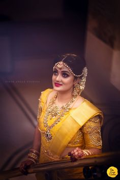My gorgeous bride Bhavan in a customised stone work blouse for her muhurtham. Notice how well she has paired her jewellery with her outfit and the detailing :) Wedding Day Wedding Planner Your Big Day Weddings Wedding Dresses Wedding bells Indian Bridal Sarees, Wedding Silk Saree, Indian Bridal Fashion, South Indian Weddings, South Indian Bride, Stone Work Blouse, Yellow Saree, Yellow Blouse, Saree Blouse Designs