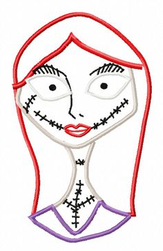 Nightmare Before Christmas Sally Bust  Applique Machine Embroidery Design 4x4 5x7  INSTANT DOWNLOAD, $2.49