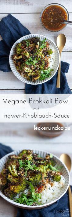 Perfekt für den Feierabend: meine vegane Brokkoli Bowl mit chinesischer Ingwer-Knoblauch-Sauce ist shcnell gemacht und schmeckt auch an heißen Sommertage. #vegan #asia #chinesisch #brokkoli #bowl #healthyfood