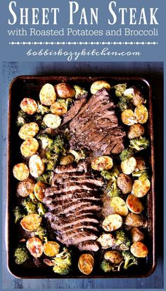 Sheet Pan Steak with Potatoes and Broccoli - Quick, and easy, with very little cleanup, this sheet pan dinner is one that your family will request again, and again! From Healthy Dinner Ideas for Delicious Night & Get A Health Deep Sleep Beef Recipes, Cooking Recipes, Healthy Recipes, Pan Cooking, Recipies, Steak Dinner Recipes, Easy Steak Recipes, Cooking Games, Cooking Classes
