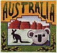 """Australia"" painted canvas by Denise DeRusha Size: 4.5"" x 4.5"" Mesh Count: 18   RePinned by : www.powercouplelife.com"