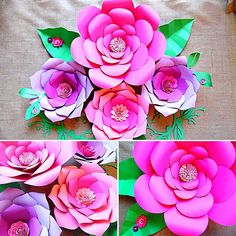 Paper flower templates, Diy Paper flower Wall, Paper flower kit, SVG & PDF files, Giant paper flowers, Large DIY Backdrop flowers By Catching Colorflies