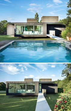 This modern house has a swimming pool that's connected to the house via a small bridge.