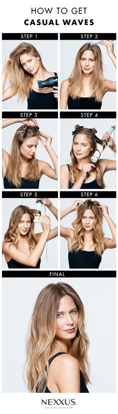 Easy, chic hair can only mean one thing: casual waves. Lona Vigi, celebrity stylist, spells out how to get the look in a few easy steps. First, apply a light mousse, like Nexxus Mousse Plus, to damp hair and roughly blow-dry to amplify texture. Then create an off-centered part and clip the top half of your hair into two sections. Use a large barrel curling iron to add waves and body (including face-framing loose waves). To finish your look, use fingers to loosen waves and dial up movement.