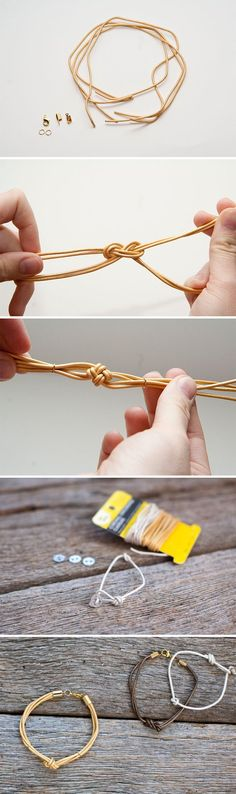 DIY simple Knotted Leather Bracelets
