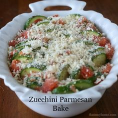 Zucchini Parmesan Bake full of zucchini, tomatoes, Italian spices and topped with parmesan and panko.