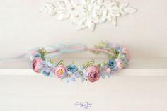Pink blue flower crown wedding headband bridal hair wreath flowers turquoise head Flower Girl crown blue pink flowers hair Rustic halo by Vualia on Etsy