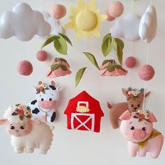 FeltGiftFinds shared a new photo on Etsy Farm Animal Nursery, Baby Farm Animals, Farm Nursery, Nursery Decor, Nursery Ideas, Nursery Mobiles, Star Wars Baby, Sheep Mobile, Pink Sheep