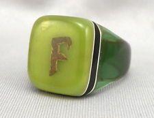 Vintage GREEN Black/White Plastic Handmade PRISON RING F Initial Monogram Sz9.25
