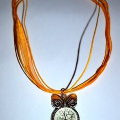 Collier mi-long hibou style nature