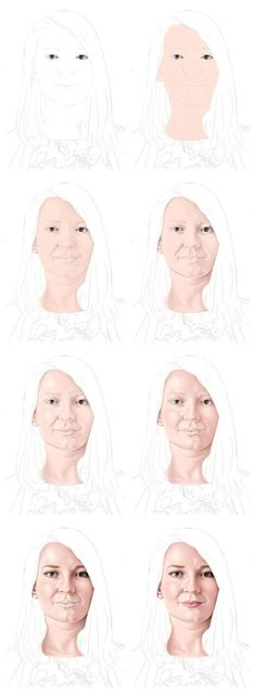 Drawing the Skin with Color Pencils - Steps 1-8