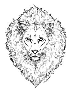 Mighty Lion COLORING Page DIGITAL File Curly By KateHolloman